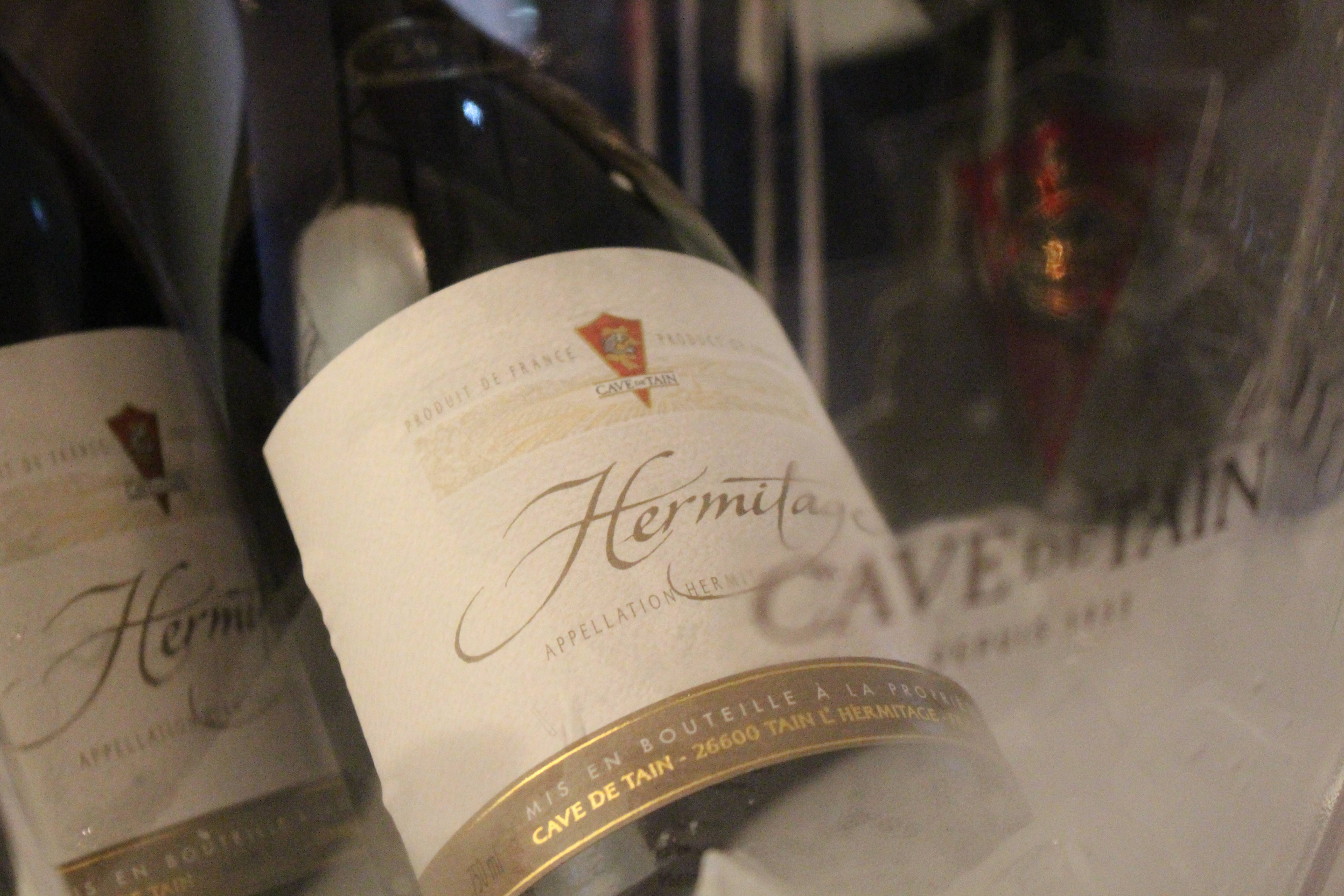 """Bottle of red Hermitage from the """"Cave de Tain"""""""
